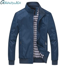 Grandwish Plus Size 6XL Men's Jacket Male Overcoat Casual Solid Jacket Slim Fit Stand Collar Zipper Men Jackets Coat,DA014