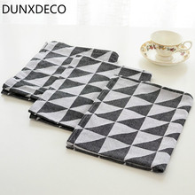 DUNXDECO 1PC 60x45CM Nordic Modern Black White Triangle Geometric Cotton Jacquard Table Cloth Napkin Home Store Decor Photo Prop