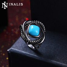 INALIS Nickle Free White Gold/Black Gold Color Vintage Rings for Women High Grade Turquoises Stone Ring Party Fashion Jewelry