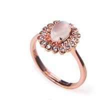 Rose Gold Plated Fashion Wedding Rings For Women Lady Charm Love Adjustable Genuine Natural Blue Lights Moonstone Rings