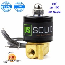 "U.S. Solid 1/8"" Brass Electric Solenoid Valve 12 V DC NPT Thread Normally Closed water, air.. ISO Certified(China)"