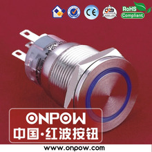 ONPOW 19mm metal super flat latching ring illuminated pushbutton switch anti-vandal LAS1-AGQPF-11ZE/B/12V/S(China)