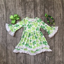 St.Martin's day girls baby children clothes cotton spring lemon green ruffles Shamrocks dress boutique sleeve match accessories(China)