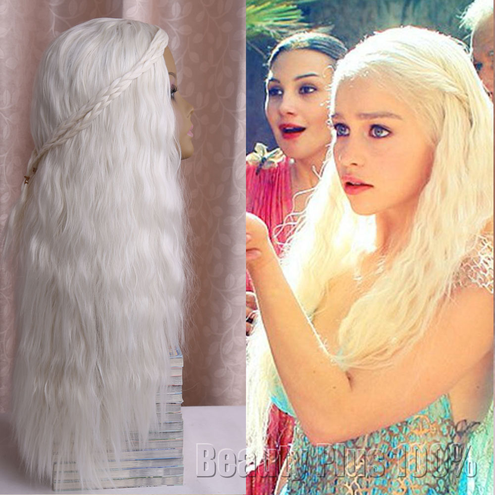 Girl Long Purecolor Light Golden Curls Daenerys Targaryen Cosplay Synthetic Hair Wigs White Blonde Silver Wig Brown Cosplay Wig<br><br>Aliexpress