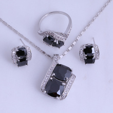 Love Monologue Silver Color Black Imitation Onyx Jewelry Sets for Women Ring Size 6 / 7 / 8 / 9 Free Jewelry Bag H0294