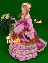 "6.7"" Porcelain doll model 1:12 dollhouse miniature Pink skirt Lady"