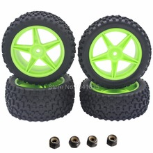 4Pcs Rubber Front / Rear Tires & Wheel Rim Hex:12mm For RC 1:10 Off Road Buggy Warhead Fit HSP Cars Parts Redcat Racing(China)