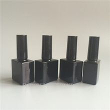 High Quality 2Pcs/lot UV Black Square 10ml Glass Nail Polish Bottle With A Lid Brush Cosmetics Packaging Nail Bottles Wholesale(China)