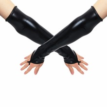 Sexy Long Black Metallic Feel Gloves Synthetic Leather Arm Sleeves Costume New Mittens(China)
