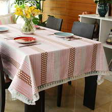 DUNXDECO Tablecloth Cotton Table Cover Fbaric Country Style Fresh Little Pink Dot Lace Border Kitchen Textile Home Party Decor