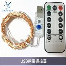 Fairy String Lights with Remote Control 100 LEDs USB String Copper Wire 33ft/10M,Seasonal Decor Rope Lights(China)