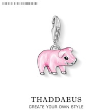 Pink Pig Charm Pendants Cute Pig Silver Plated Enamel Pink Fit Bracelet Necklace Fashion Jewelry Thomas Gift For Women