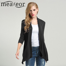 Meaneor Women Casual Cardigan For 2017 Fashion Autumn 3/4 Sleeve Solid Black Stretch fabric Asymmetric Hem Cardigan Outwear