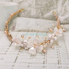 Bridal Flower Faux Pearl Rhinestone Wedding Headband Hair Clip Tiara Accessories #Y51#(China)