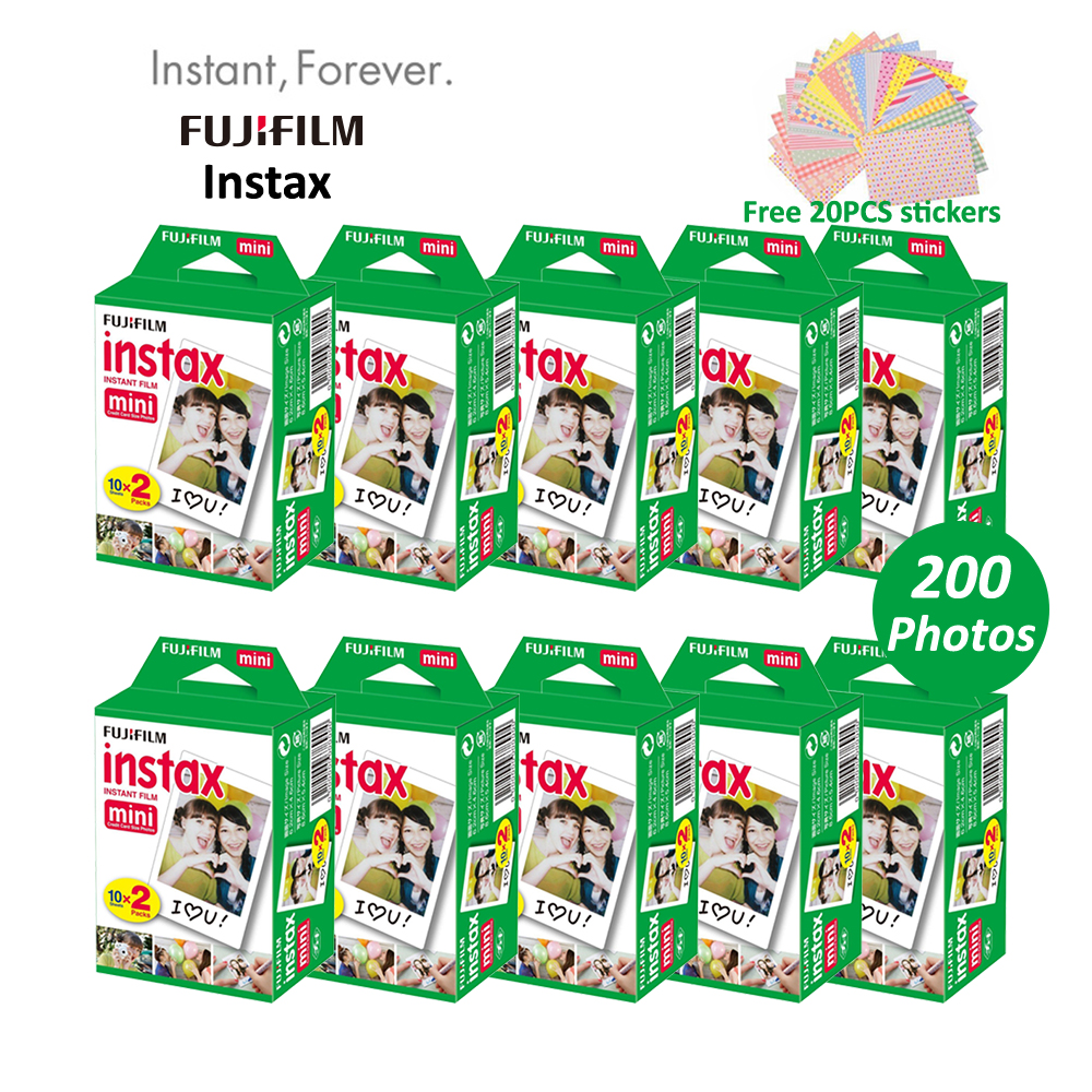 Original 200 Sheets Fujifilm Fuji Instax Mini White Film Instant Photo Paper For Mini 8 7s 25 50s 70 90 Photo Camera SP-1 SP-2(Hong Kong)