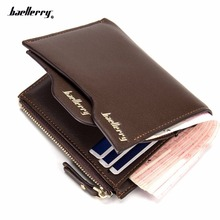 2017 brand baellerry men's leather wallets Bifold Wallet ID Card holder Coin Purse Pockets Clutch with zipper Coin Bag