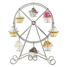 Practical Ferris Wheel 8 Cups Silver Stainless Steel Cupcake Stand Cake Holder Decorating Party Supplies(China)