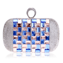 Gorgeous Glasses Women Evening Bag One Side Finger Rings Diamonds Small Day Clutch Evening Bags L214(China)
