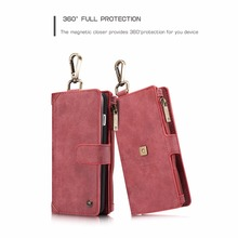 CASEME 2 IN 1 Wallet Leather Case For iPhone 6 6s Plus Zipper Flip Cover Coque For iPhone7 Plus Luxury Metal Clip Split Case