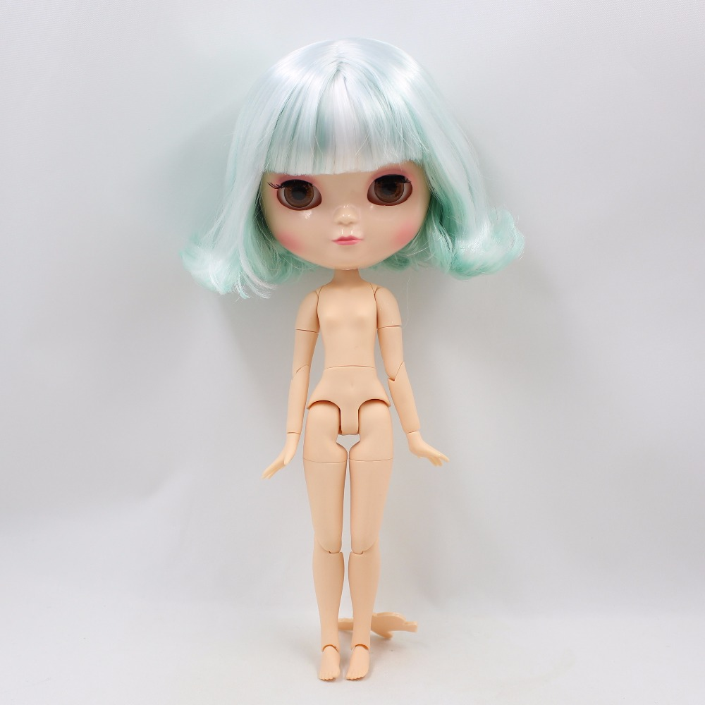 Neo Blythe Doll with Mint White Hair, White Skin, Shiny Face & Jointed Azone Body 4