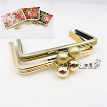 Size 12cm With 16mm bead on top metal purse frame clip anti bronze ,silver,light gold wallet purse frame wallet frame China