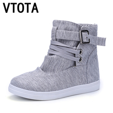 VTOTA Fashion autumn boots women New women shoes Ankle Boot Brand flats canvas shoes lace-Up casual shoes Breathable Botas X305