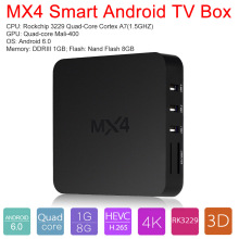 MX4 Smart Android 6.0 TV Box RK3229 Quad Core 1G / 8G XBMC DLNA UHD 4K 3D H.265 WiFi HD Media Player with Remote Control(China)