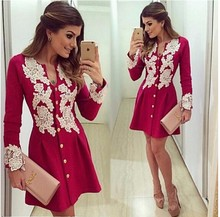 2017 New Arrival Casual Red Chiffon Dress Long Sleve V-neck Lace Dresses Button Above Knee Dress