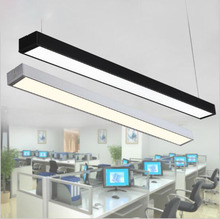Black Silver LED Strip Lights Office Classroom Office Chandeliers Modern Fluorescent Long Bar Aluminum Lamp Hanging Lights