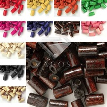 30g Approx 350Pcs Wood 8x5mm Tube Dyed Beads Fit Bracelet Necklace Wholesale WB0022-0067 13 Color Choose