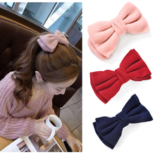 Fashion Big Cloth Bows Hair Clips Gilrs Sweet Bowknot Barrette Solid Hairpin Headwear Ladies Velvet Hair Accessories Ornaments(China)