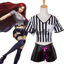 LOL League of Legends Katarina Du Couteau Uniform Tops Shorts Outfit Cosplay Costumes(China)