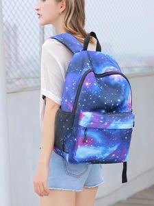 Women Backpack Bag Schoolbag-Bags Starry Teenage-Girls Female for Cute Sky