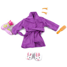 "New Fashion American Girl Doll Purple Pajamas Shoes Plush Rabbit Slippers Comb Hairpin Hairdryer 18"" Dolls Night Robe Nightgown(China)"