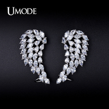 UMODE Design Popular Angel Wings Earrings Exaggerated CZ Stud Earrings For Women Free Shipping Wholesale Aretes Brinco UE0215(China)