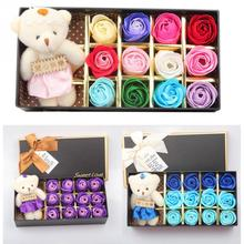 12 Pcs / Set Romantic Scented Bath Soap Rose Soap Flower Petal with Little Cute Bear Doll Gift Box For Wedding Valentine's Day