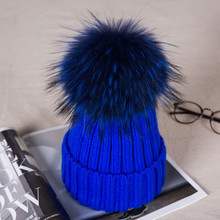 Child Boy Winter Raccoon Fur Hat Kids Knitted Wool With Colour Pom Poms Cap Natural Fur Winter Thick Warm Cap For Baby Children(China)