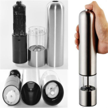 2017 New Arrival Stainless Metal Electric Salt Pepper Garlic Mill Spice Grinder Kitchen Tool Free Shipping Moedor De Pimenta(China)