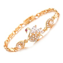 OPK Vintage Swan Design Link Chain Woman Bracelets Fashion Gold Color Cubic Zirconia Wedding Jewelry DM440(China)