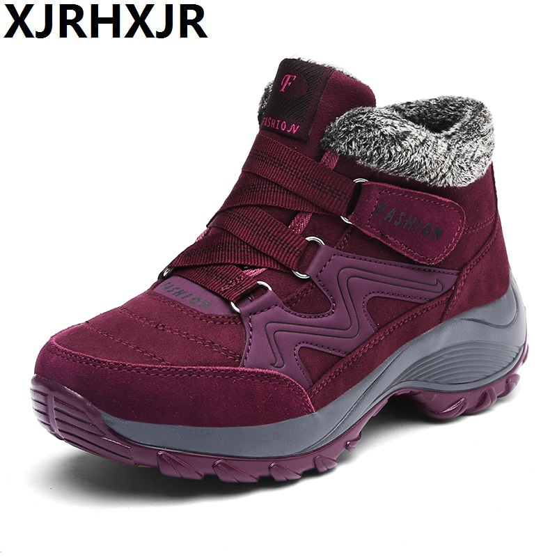 XJRHXJR Hot Fashion Winter Female Plus Velvet Swing Shoes Snow Platform Boots Women Thermal Cotton-padded Shoes Flat Ankle Boots<br>