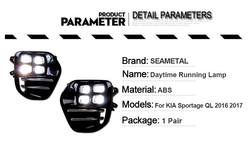 LED Daytime Running Lights DRL For KIA Sportage QL KX5 2016 2017 Car Driving Light Fog Lamp Hole Car-styling Auto Accessories (3)