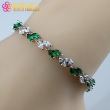 925 Sterling Silver Leaves Green Created Emerald Bracelet Health Fashion  Jewelry For Women Free Jewelry Box SL141