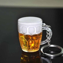 New Arrival 1pc Unisex Resin Beer Cups Key chain Simulation Food Handicraft Fashion Key Rings Creative Interesting Gift