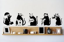 Banksy Five Mouse Graffiti Wall Stickers Classic Vinyl Street Wall Banksy Art Collection Wall Stickers Home Decor Living Room