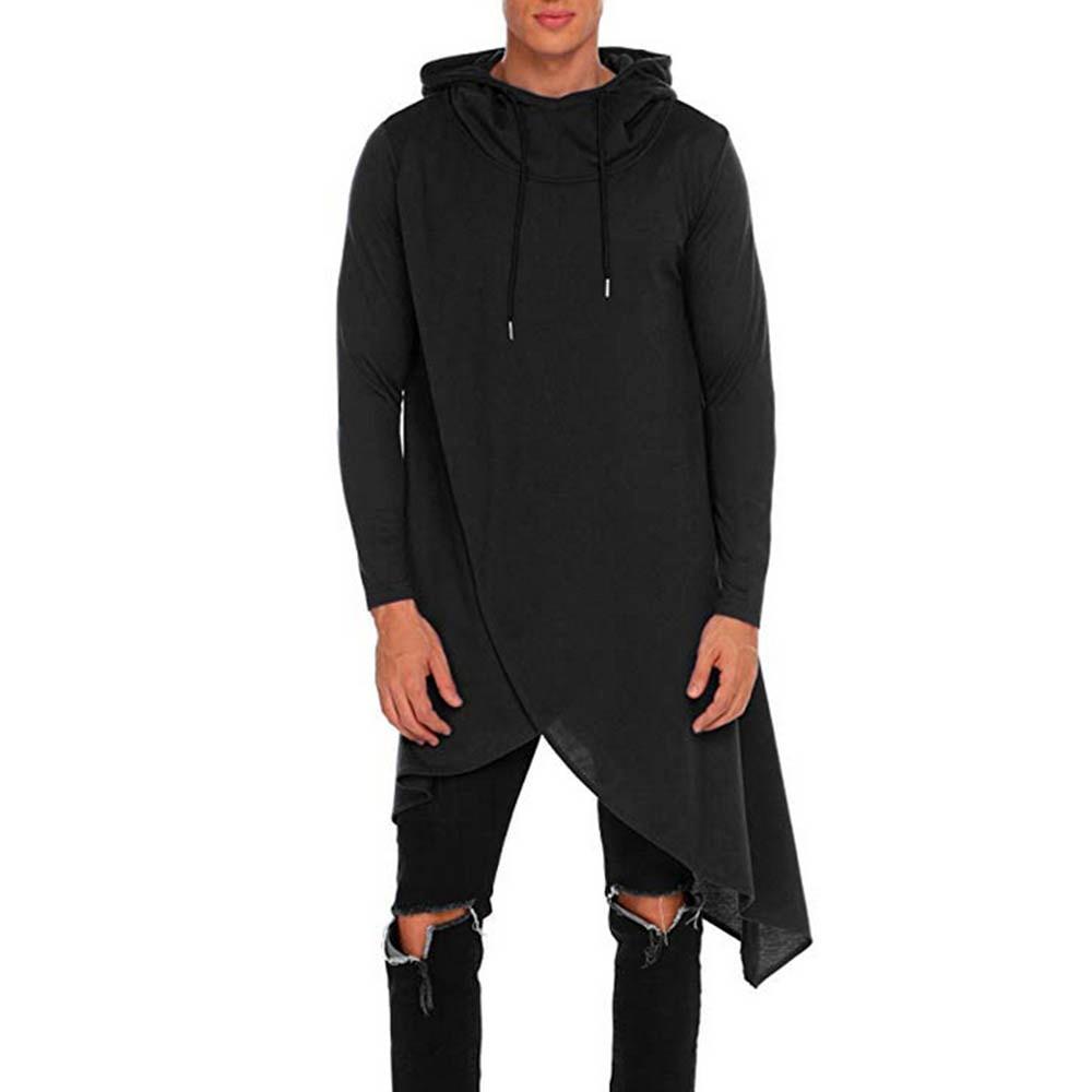 Men Irregular Color Hoodie Jumper Sweatshirt Winter Warm Sweater Outwear Tops