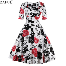 ZAFUL Plus Size S~4XL Cotton Pattern Style Women Floral Print Vintage Dress 60s Swing Party Dress 3/4 Sleeved Feminino Vestidos