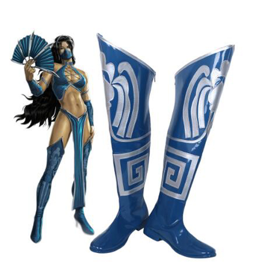 Mortal Kombat Game Princess Kitana Blue Cosplay Boots Shoes Halloween Party Cosplay Boot Custom Made for Adult Women Long Shoes