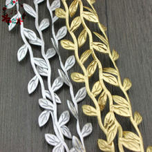 100 yards Metallic Golden Silver Fabric Vines Wedding Ribbon Trims Party Garlands Leaves Cut Outs Home Decor Party Supply(China)