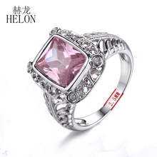 HELON Details about Natural Diamonds 10x8mm Cushion 5ct Pink Topaz Engagement Wedding Ring Fashion Jewelry Solid 10k White Gold