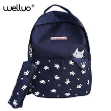 Hot Selling Student Book Bag Women Backpack High Quality Canvas Plaid Preppy Style Girl Fashion Kawaii Animal Prints Pack XA352B(China)